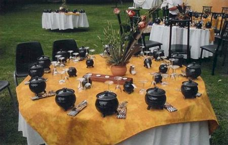 """This is a wedding with a potjie theme. Notice the porcupine quills in the flowers."""