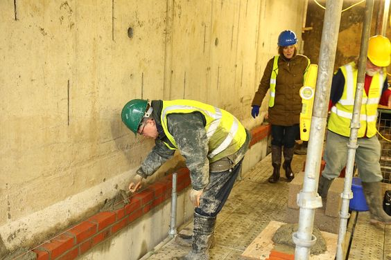 Compasses Bridge construction. The start of the brick cladding under the bridge. This work is being carried out by the Trust's volunteers. 23rd January 2016