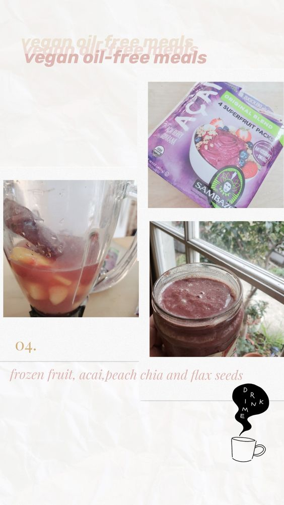 smoothie, frozen fruit smoothie, acai smoothie, peach smoothie, sambazon, superfruit smoothies, vegan oil free soyvirgo.com