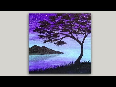 Tree Silhouette Acrylic Painting Easy Landscape Painting Demonstration Youtube Easy Landscape Paintings Silhouette Painting Tree Painting Easy