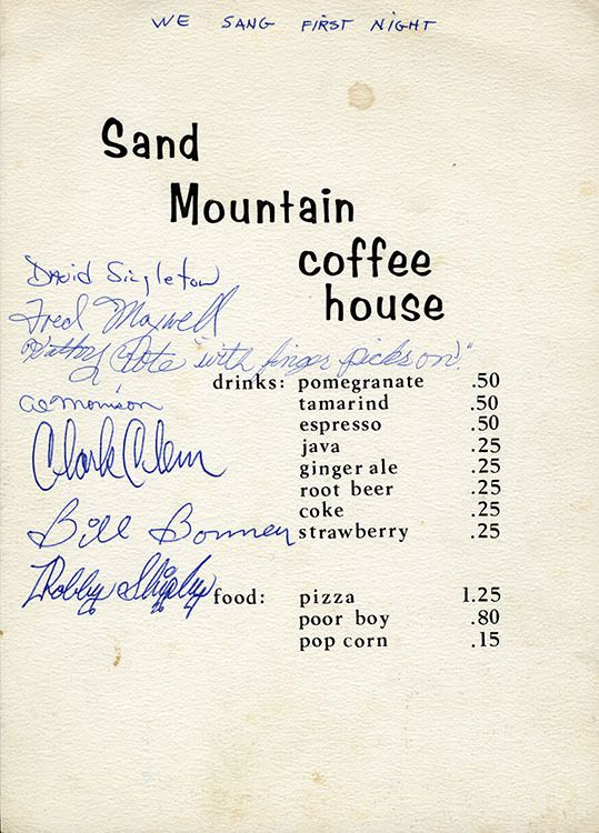 Sand Mountain Coffee House 1213 Richmond Ave Houston Tx 77006 Credit Rice University John Carrick Sand Mountai Coffee House Mountain Coffee Folk Music