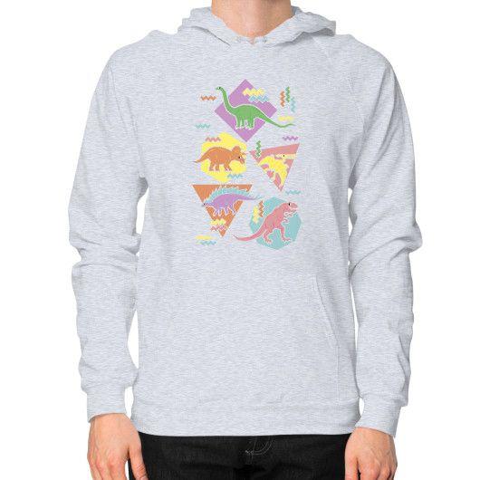 Nineties Dinosaur Pattern Hoodie (on man)