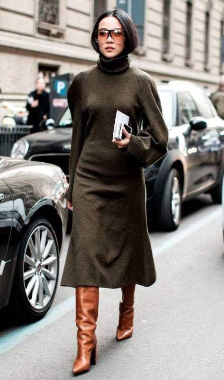 L'abito in maglia - vestito con gonna midi e maniche a sbuffo