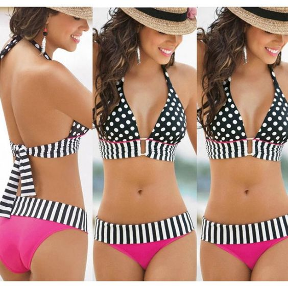 Cool!  Vintage Triangle Polka Dot Bikinis Set Push Up Swimwear Beach Bathing Suit just $19.99 from ByGoods.com! I can't wait to get it!