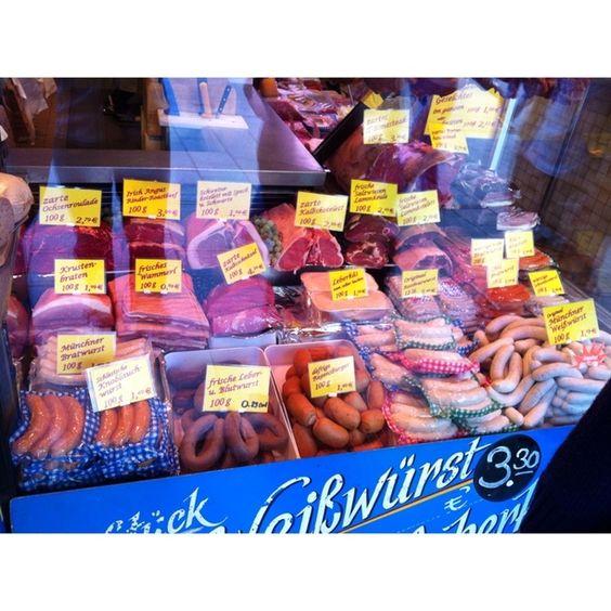 """Discovered by Brandon Gabel, """"German meat market! Amazing! """" at München Marienplatz, Altstadt, Munich, Germany"""