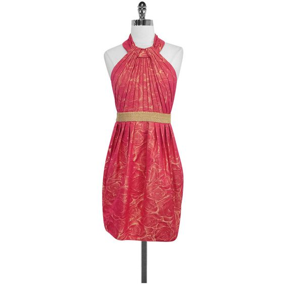 Pre-owned Carmen Marc Valvo Pink & Gold Halter Dress ($133) ❤ liked on Polyvore featuring dresses, flower print dress, red floral dress, floral print dress, red gold dress and red cocktail dress