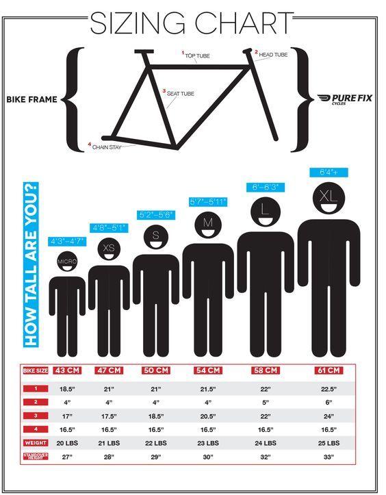 Sizing Chart Pure Fix Cycles Bike Frame Bmx Bikes Cycling Tips