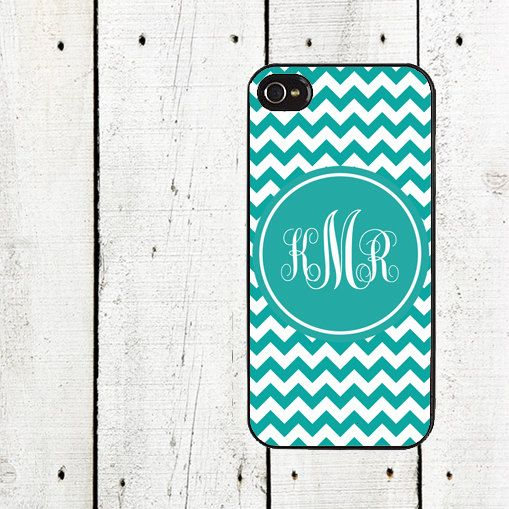 Teal Monogram Chevron Cell Phone Case - for iPhone 4,4s and iPhone 5 - Mother's Day Gift