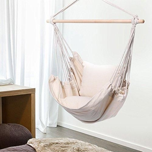 Finether Padded Hammock Hanging Chair Swing With Pillow Beige Hammock Town Swing Chair For Bedroom Hanging Swing Chair Bedroom Swing