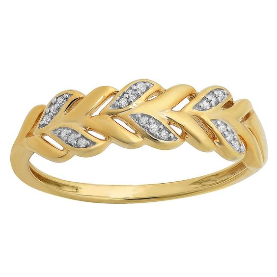 Elora Yellow Goldplated Sterling Silver Round Diamond Accent Vintage Style Stackable Anniversary Band (Size 9), Women's (solid)