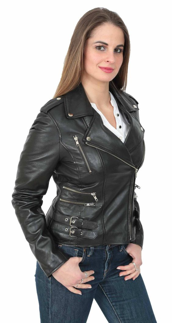 Popular Style Real Soft Black Leather jacket Beyonce Womens Fitted