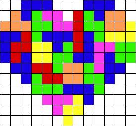 Heart Tetris inspired perler bead pattern