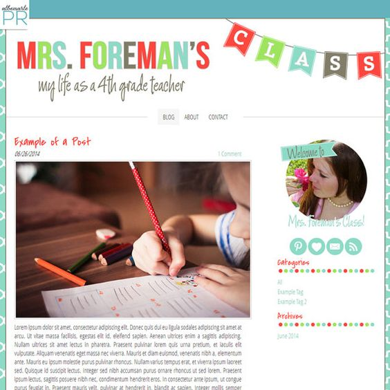 Premade Weebly Template Teacher Blog Classroom Lessons - Mrs ...