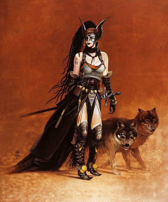 Valkyrie with Wolves 1996 -Chris Achilleos