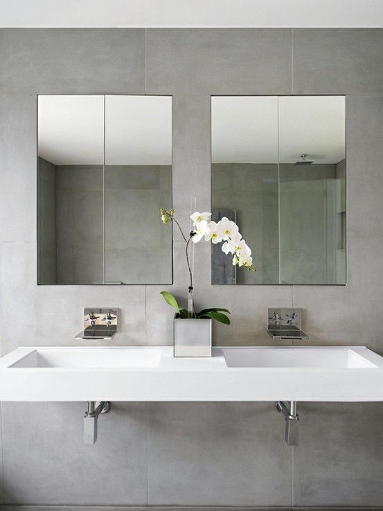 two wall faucet single sink concept for master. Concrete bathroom grey+ white