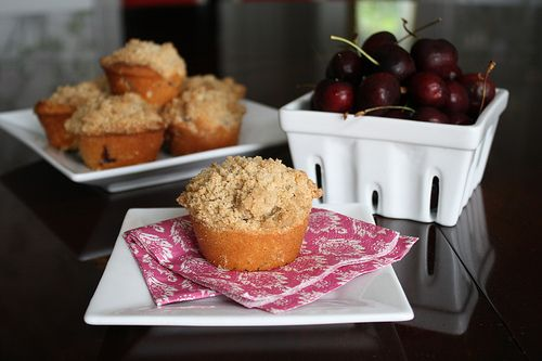 Cherry Almond Muffins with Streusel Topping