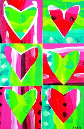 Pop Art Hearts. warm and cool colors. visual texture. line. design