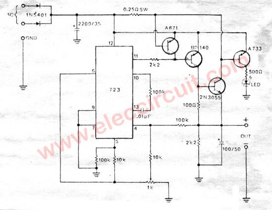 0 30v Variable Power Supply Circuit Diagram At 3a Eleccircuit Com Power Supply Circuit Power Supply Power