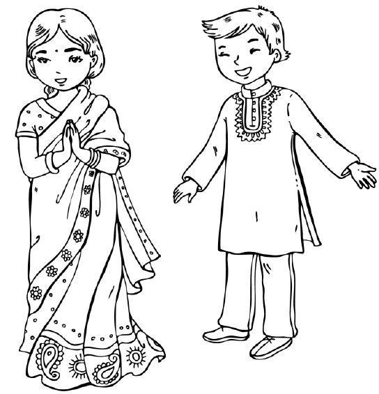 children of india coloring pages - photo#1