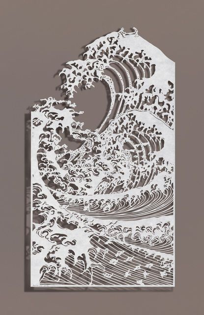 BOVEY LEE, Sawing Waves, 2012 Cut paper, Chinese xuan (rice) paper on silk 26 3/4 × 24 1/4 in 67.9 × 61.6 cm: