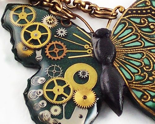 polymer clay and resin with gears butterfly