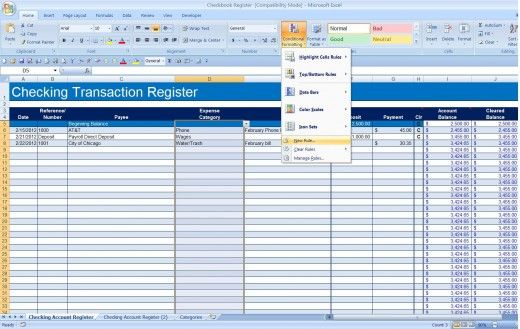 How To Create A Checkbook Register In Excel Checkbook Register Excel Budget Budgeting