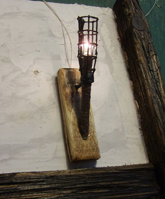 Wall Mounted Torch Lights : 12th scale working Medieval Gothic Wall Torch by MinisceneYork, ?11.95 Dollhouse Pinterest ...