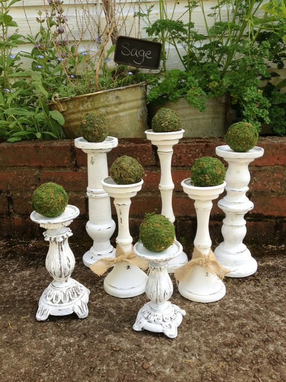 shabby chic white candle sticks set 7 distressed chalk paint wedding home mantle decor large chic white home