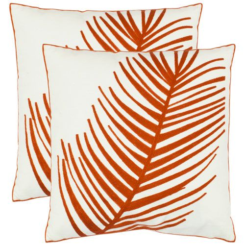 Fatima 18 Inch Orange Decorative Pillows, Set Of 2 Safavieh Home Furniture Accent Pillows