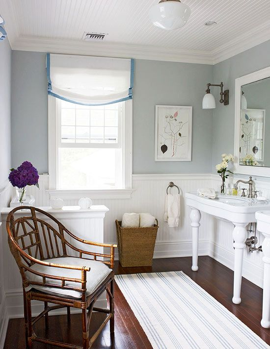 Charming East Hampton Cottage - Traditional Home® BM#1591 Sterling wall paint; Circa lighting; Rohl faucets; Aquaware sink and stand; French oak antiqued and distressed flooring from Bois Chamois
