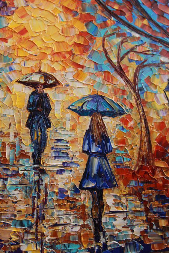 Automne love story 48 grand abstraite original peinture - Peinture contemporaine au couteau ...