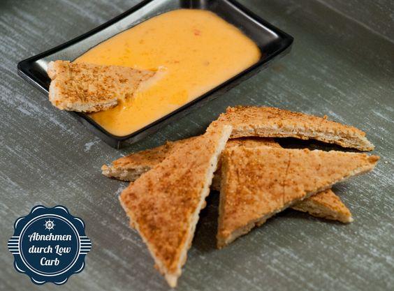 LowCarb Nachos mit Käsedipp