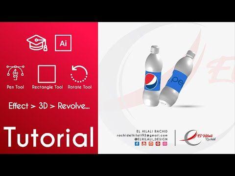 Tutorial 007 تصميم مجسم ثلاثي الأبعاد لقنينة صودا Effect 3d Revolve Adobe Illustrator Youtube Illustrator Tutorials Adobe Illustrator Tutorials Pen Tool