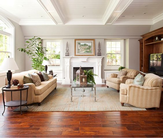 Decorations Elegant Cherry Red Wooden Floor For Classic Living Easy Decor Living Room Wood Floor Traditional Family Rooms Living Room Hardwood Floors