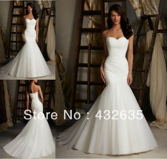 Cheap Sweetheart Strapless Pleat Bodice Women Mermaid Wedding Dresses 2014 robe de mariee High Quality $137.99