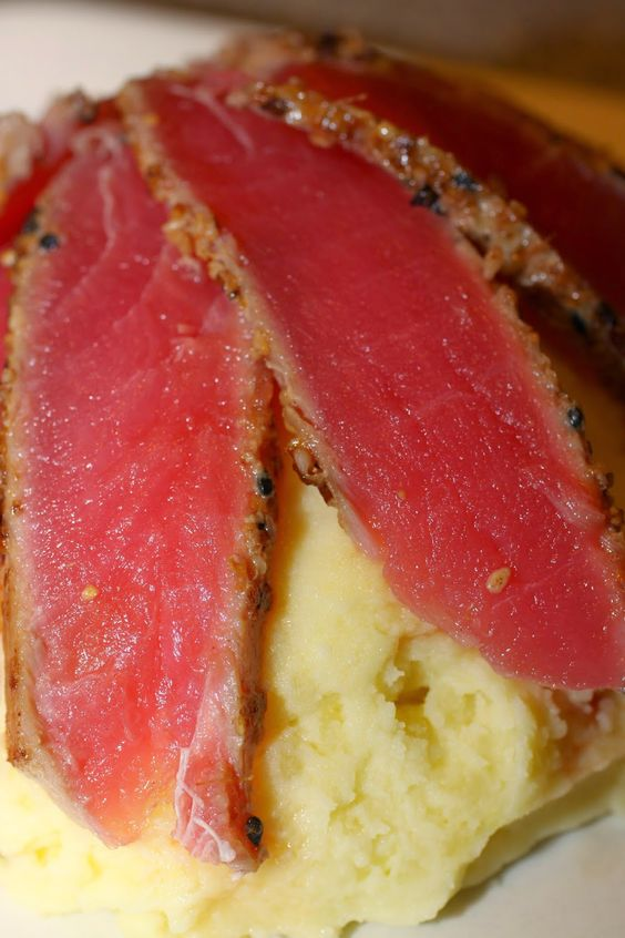 Seared Sesame Crusted Tuna with Wasabi Mashed Potatoes #seafood # ...