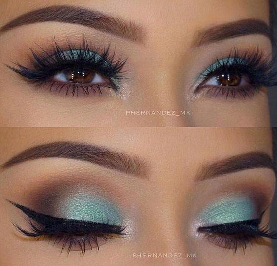 Teal brown makeup