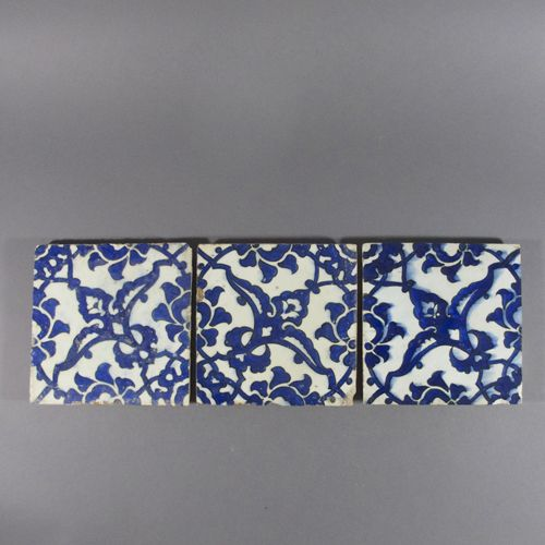 three 16th century Ottoman Dome of the Rock tiles, probably from Jerusalem