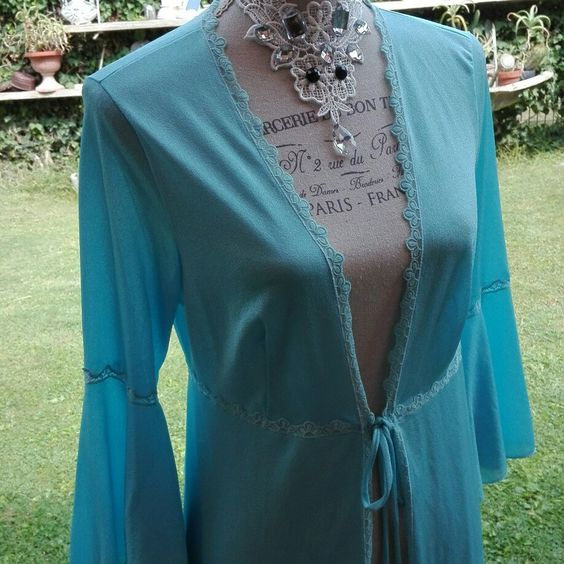 Vestaglia 70s celeste azzurra Dressing gown VINTAGE