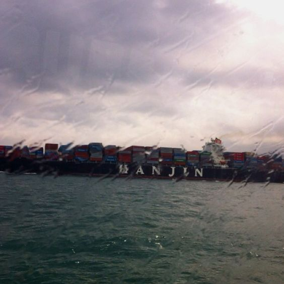 It's a rainy day today... I love container boats.