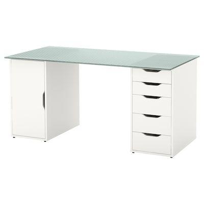 Klimpen Table Grey Light Grey 150x75 Cm Glass Desk Ikea Glass Desk Ikea