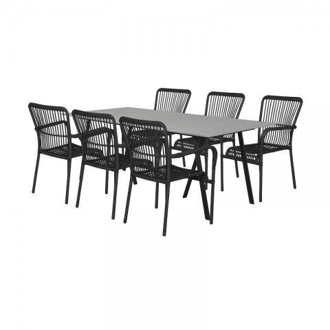 Havemøbelsæt med Anja stole sortgrå 6 personer