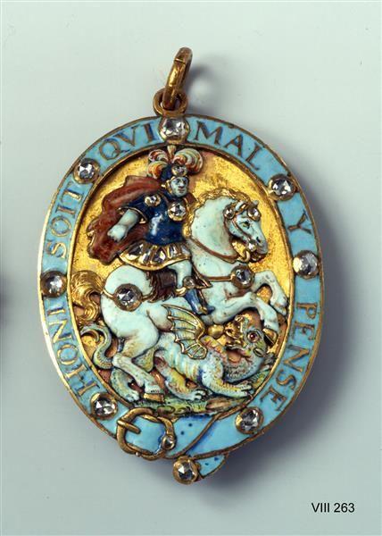 Jewel of the English Order of the Garter, Dresden, 1693-1694. Gold, enamel, 23 diamonds, a ruby. H 7,4 cm. Inventory number: VIII 263. Green Vault © Staatliche Kunstsammlungen Dresden 2016