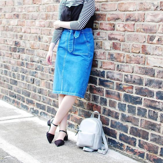 I never in a million years thought I'd find myself loving a denim midi skirt (because I'm really short) but here we are!