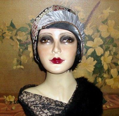 Ritzy Pixie Metallic Flapper Hat Cloche Couture OOAK1920S Gatsby Vtg Flair | eBay