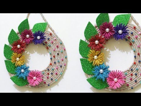 Jute Craft Wall Hanging Jute Craft Idea Best Out Of Waste Idea Home Decor Diy Youtube Jute Crafts Paper Flowers Crafts