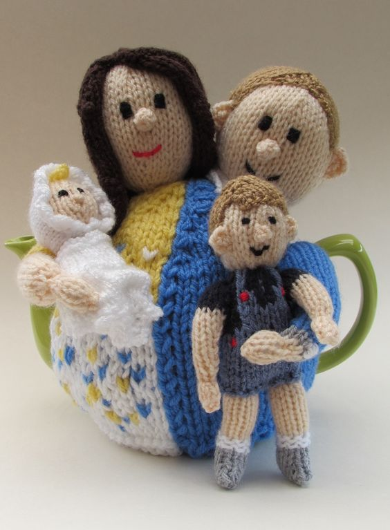 The Launch of the William and Kate Tea Cosy from TeaCosyFolk - this adorable tea cosy of the royal family is available for your to knit! http://www.teacosyfolk.co.uk/show.php?id=88: