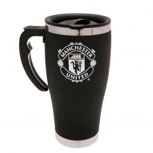 Aluminium Man United travel mug in black and featuring the club crest in white…