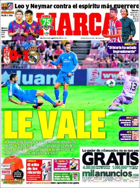 Los Titulares y Portadas de Noticias Destacadas Españolas del 27 de Agosto de 2013 del Diario Deportivo MARCA ¿Que le pareció esta Portada de este Diario Español?