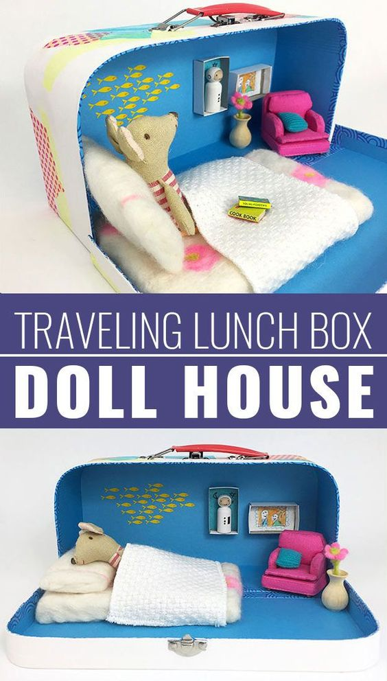 DIY Christmas Gifts for Kids - Homemade Christmas Presents for Children and Christmas Crafts for Kids | Toys,  Dress Up Clothes, Dolls and Fun Games |  Step by Step tutorials and instructions for cool gifts to make for boys and girls |  Travelling-Lunch-Box-Doll-House  |  http://diyjoy.com/diy-christmas-gifts-for-kids